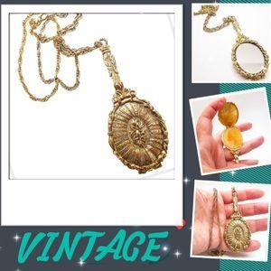 Vintage Necklace W/Hand Mirror Perfume Pendant